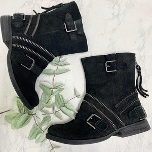 Naughty Monkey Sz 7.5 Black Leather Suede Boots